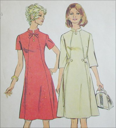 Simplicity 6158 dress vintage 1973 sewing pattern size 10 1/2 and 12 1/2 B33 or 35