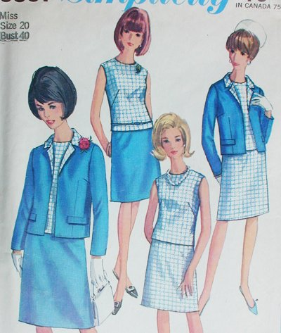 Simplicity 6891 misses skirt blouse jacket size 20 B40 vintage 1966 sewing pattern
