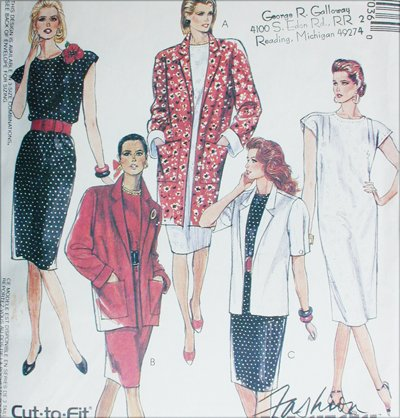 McCall 4703 misses size 20 22 24 dress jacket sewing pattern