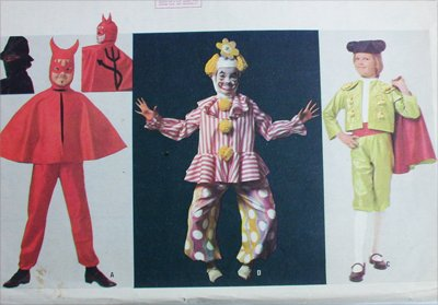 McCall 7912 childs costume pattern size 6 to 8 bullfighter devil clown bandit