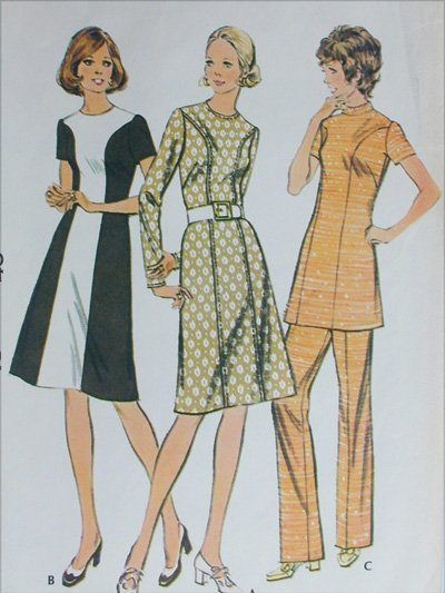 McCall 3112 dress or tunic size 18 B40 sewing pattern vintage 1972