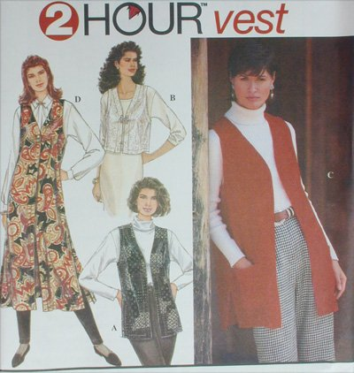 Simplicity 9161 misses vest long and short sizes L XL pattern UNCUT