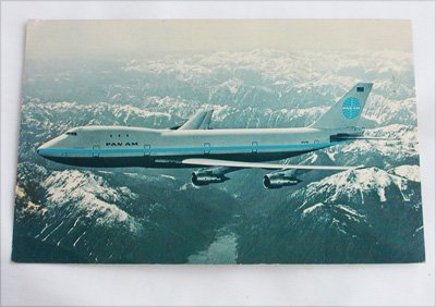 Pam Am 747 Cheerios promotional post card 1970 postage stamp postcard