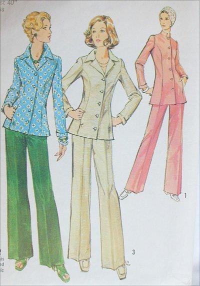 Simplicity 6229 misses shirt jacket pants size 18 B40 vintage 1974 sewing pattern