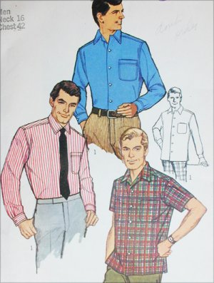 Simplicity 7745 mans shirt size neck 16 chest 42 sewing pattern