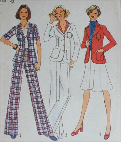 Simplicity 6876 misses size 18 20 pants skirt jacket vintage 1975 pattern