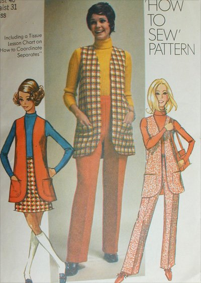 Simplicity 8917 misses vest mini skirt pants size 18 B40 vintage 1970 pattern