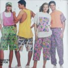 McCall 5939 unisex T shirt tank top pants shorts size S 32 1/2 to 34 sewing pattern