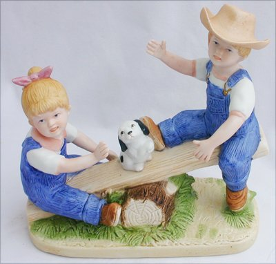 Denim Days 8827 figurine Playtime kids on see saw with dog