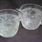 Anchor Hocking Sandwich glass creamer and sugar bowl