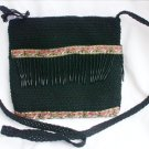 Marlo purse shoulder bag black cord braid and dangle bead trim