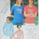 Simplicity 7290 T shirts sewing pattern size M chest bust 35 to 36 1/2 inches stretch knits