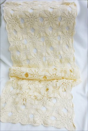 Vintage crochet table runner 50 inches x 15 light ecru like new