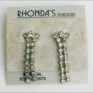 Rhinestone dangle earrings pierced ears Rhonda Chicago jewelry