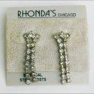 Rhinestone dangle earrings pierced ears Rhonda Chicago jewelry