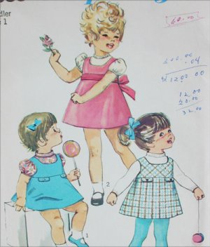 Simplicity 7880 toddler jumper and blouse size 1 vintage 1968 pattern