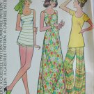 McCall 3599 misses long dress bell bottom pants top size 16 B38 vintage 1973 pattern