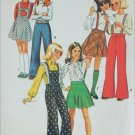 Simplicity 6588 girls bell bottom pants skirt bib size 7 B23 vintage 1974