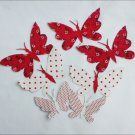 Craft appliques seven butterflies red white fabric