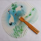 Oriental ladies fan Republic China paper with wood handle cranes