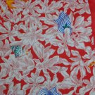 Bold fabric red background white flowers blue flags cotton poly blend 45 inches