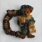 Boyds Bearswear pin Born to Shop lady bear resin material