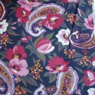 Cranston Print Works cotton fabric pink roses paisley black background