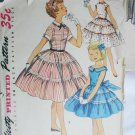 Simplicity 1255 girls dress size 14 bust 21 vintage 1955 sewing pattern
