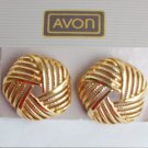 Avon earring 5 sided circle open work MIB gold tone pierced ears