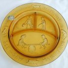 "Tiara amber nursery rhyme plate divided dish original sticker 8 1/2"" glass"