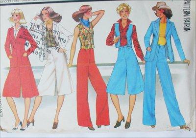 McCall 5638 misses jacket vest culottes pants size 12 vintage 1977 pattern