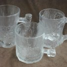 3 Flintstone McDonald&#39;s glass mugs 1993 Mammouth, Pre Dawn & Tree Men dous