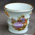 Limoges mortar or vase china lovers in garden scene miniature