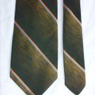 Man's tie by Grenada polyester loden green stripes 3 1/2 inch necktie
