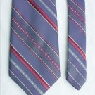 Gray tie red white stripes  Ketch label polyester 3 1/2 inch width necktie