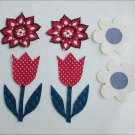 Craft appliques 6 flowers denim like fabric 2 tulips 4 others