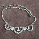 Vintage rhinestone necklace 3 center loops triangular stones all pronged jewerly