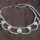 Vintage pronged rhinestone necklace 15 inches loops with teardrops jewelry