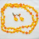 Vintage demi parure orange yellow necklace & earrings Japan set jewerly