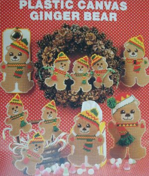 Plastic Canvas Ginger Bear patterns Needlecraft Leaflet 105