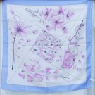 Scarf bold pink flowers blue border made in Italy polyester never worn