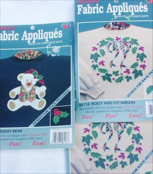 3 Holiday Fabric Appliques iron on cut outs Christmas holly ivy bear MIP
