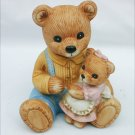 "HOMCO 1444 dad bear with daughter figurine 4"" porcelain"