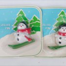 2 Vintage Avon snowman skis pins plastic sealed packages 1982