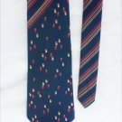 Man's tie Greatwall 100% silk navy with stripes and pattern