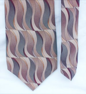 "Man's tie Croft and Barrow 100% silk 4"" browns and gray pattern"