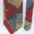 Man's necktie Furman's 100% silk tie geometric design burgundy gray blue 4""