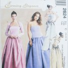McCall 2624 misses formal prom dress top skirt gown look sizes 10 12 14 UNCUT pattern