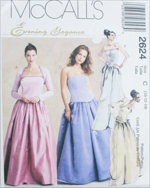 Prom Dress Stores Michigan on Mccall 2624 Misses Formal Prom Dress Top Skirt Gown Look Sizes 10 12