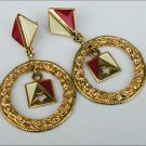 """Earrings nautical feel large 1 3/8"""" circles on studs probably Avon"""